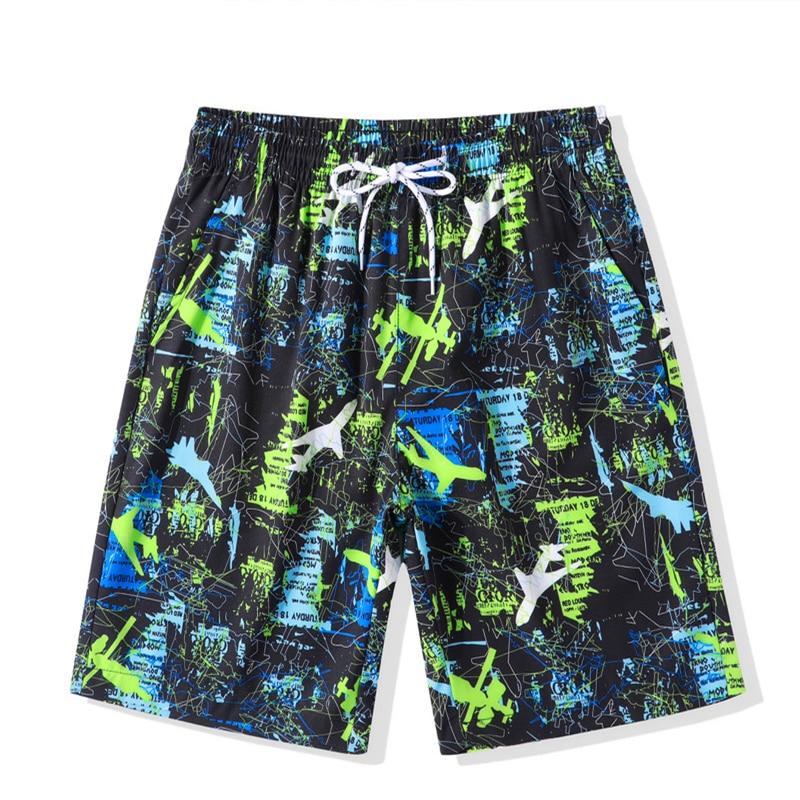 Hfnf Quick-Drying Swim Print Shorts Summer Board Surf Swimsuit Beach Short Men Running Male