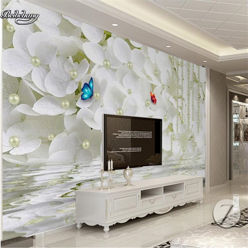 Large 3d European Pearl And Rose Jewelry Tv Background: Beibehang 3d Beautiful European Pearl Flower TV Backdrop