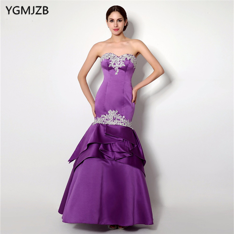Purple Evening Dresses Long 2018 Mermaid Sweetheart Off