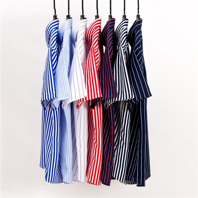 2019 Summer Branded Men Casual Shirts New Turn Down Collar Mans Short Sleeve Shirt Striped Soft Breathable Male Outwears Yn10277