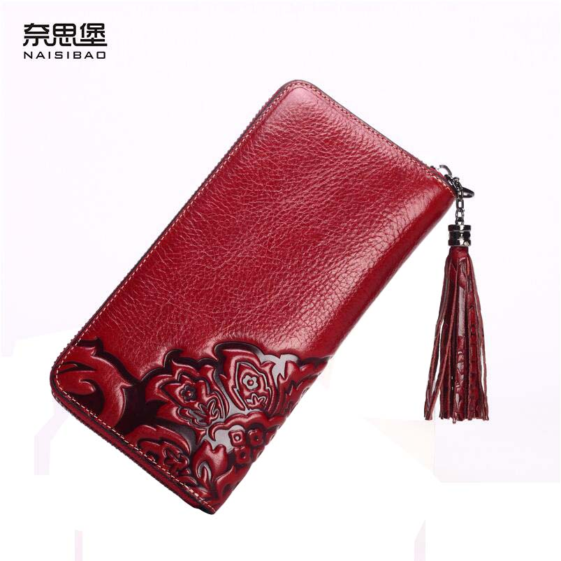Famous brand top quality Cow Leather women bag 2016 new fringed long wallet Retro Chinese style embossed Clutch Wallet famous brand top quality cow leather women bag 2016 new chinese style embossed handbag retro shoulder messenger bag