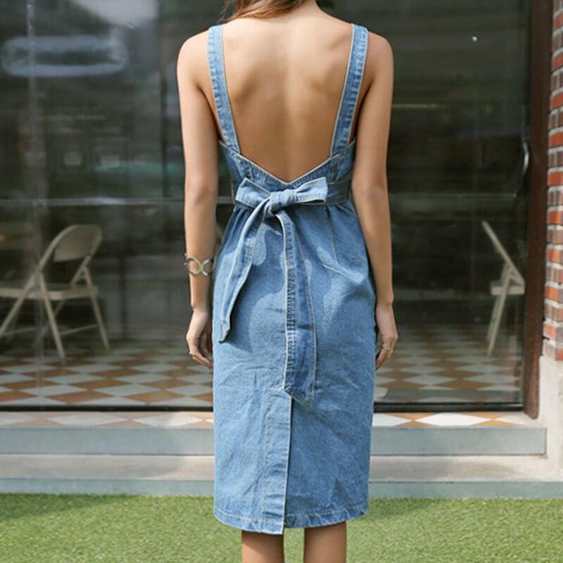 061b53b7 Zarachiel 2018 Sexy Sleeveless Backless Bow Tie Strap Jeans Dress Women  Single Breasted Suspender Denim Sundress Overall Dress-in Dresses from  Women's ...