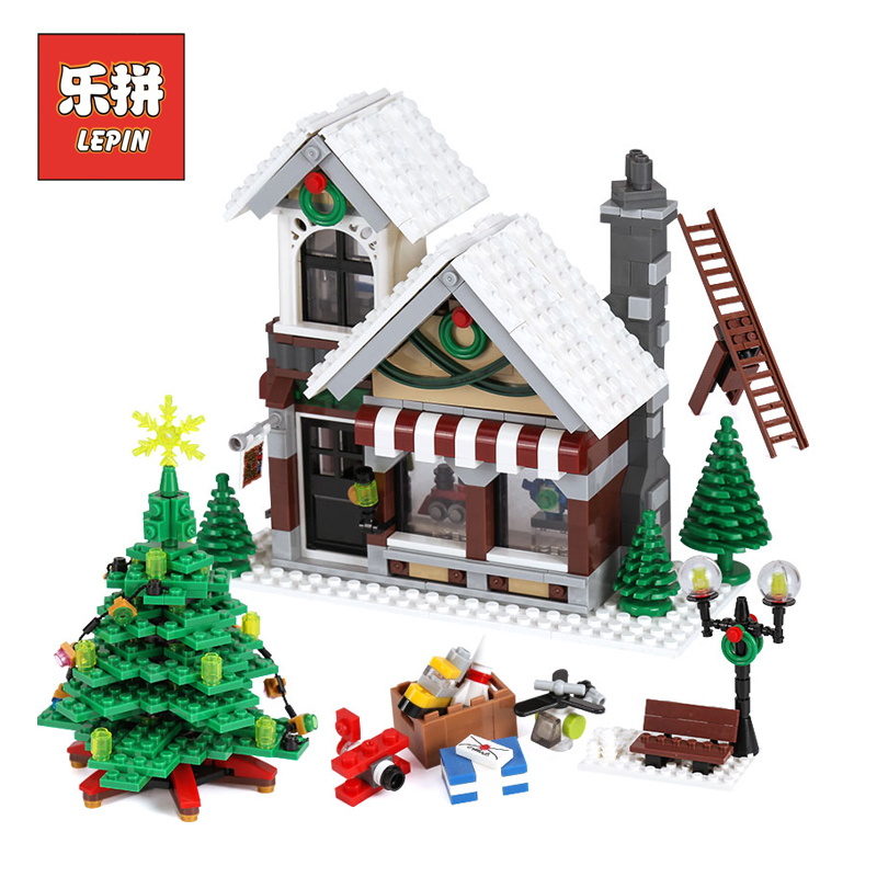 Lepin 36002 Genuine Creative Series Winter Toy Shop LegoINGly 10249 model Building Blocks Bricks Educational Toys Christmas Gift lepin 36002 1005pcs street view series winter toy store christmas model building blocks set bricks toys for children gift 10249