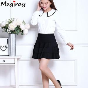 Image 4 - Magiray בתוספת גודל גבוהה מותן מיני חצאית 3 שכבות לפרוע חצאיות נשים קיץ 2020 מרופד קצר Saia קו נשי חצאית C445