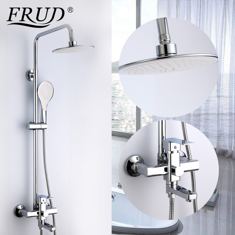Permalink to FRUD Sanitary Ware Suite Bathroom Rainfall Shower Set Faucet Mixer Tap Wall Mounted Water Sink set Bath Water Shower Faucet