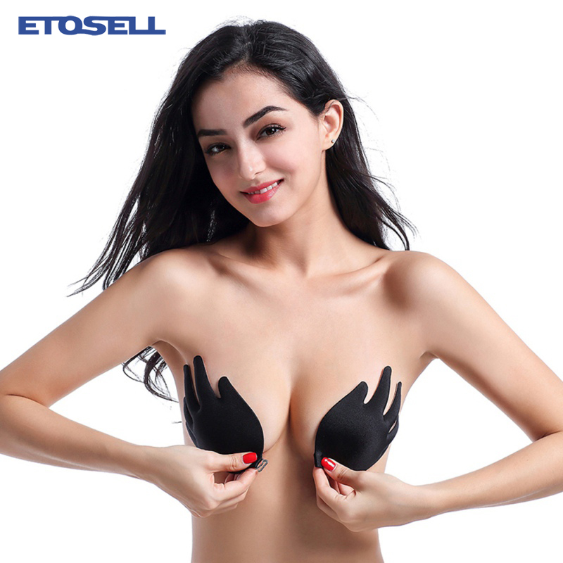 Women Invisible Bra Stick Gel Silicone Bras Solid Push Up Self Adhesive Bra Strapless Blackless Women's Sexy Lingerie Underwears
