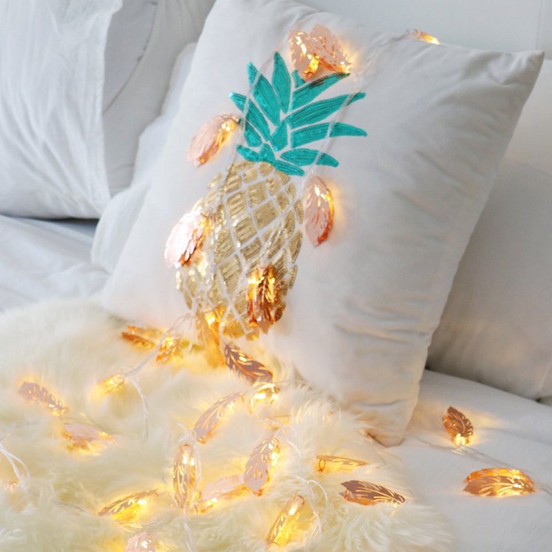 Rose Gold Light Feather Shaped Copper Metal 10 LED Lantern String Lights for Bedroom Battery Powered