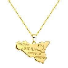 CHENGXUN Italia, collar de mapa de sicinia, collar de Gargantilla con amuleto colgante de moda para mujeres, regalos de joyería italiana