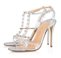 Women Newest Silver Glitter Beaded Sandals Multi color Studded PVC Thin High Heels T Bar Colorful Dress Shoes Wedding Pumps