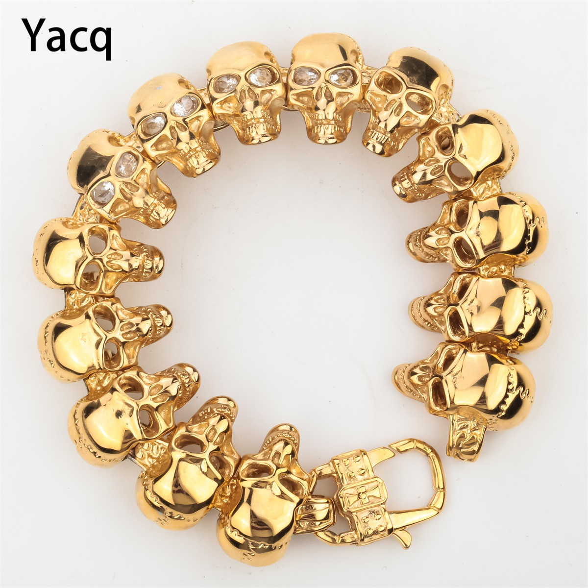 Skull Stainless Steel Bracelet Gold Color Mens Heavy Jewelry Fathers Day Gifts for Dad Boyfriend Him dropshipping 8.5 D101