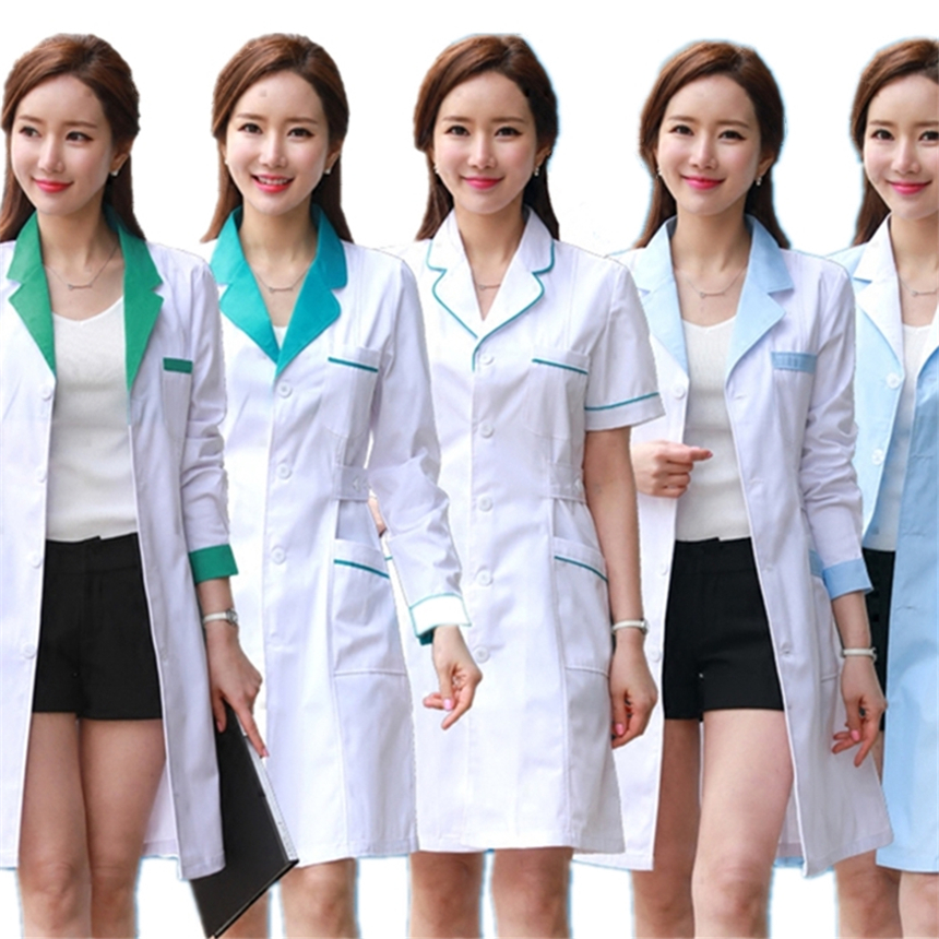 10Color Medical Nurse Uniform Lab White Coat Pharmacy Beauty Hospital Clinic Work Wear Uniforms For Women Medical Clothes