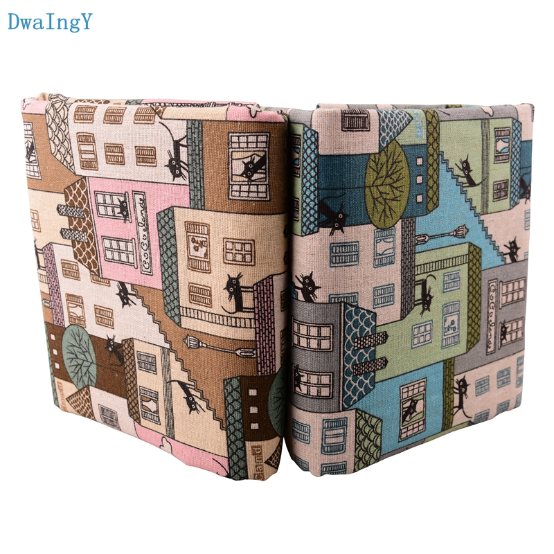 DwaIngY Cat & house <font><b>Cotton</b></font> <font><b>Linen</b></font> Fabric For DIY Sewing Quilting Sofa Curtain Bag Cushion Furniture Cover Material Half Meter image