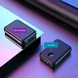 20000 mah banco de potência tpye-c intput carga rápida exibição lateral carregador portátil dupla usb saída rápida 10000 mah mini powerbank