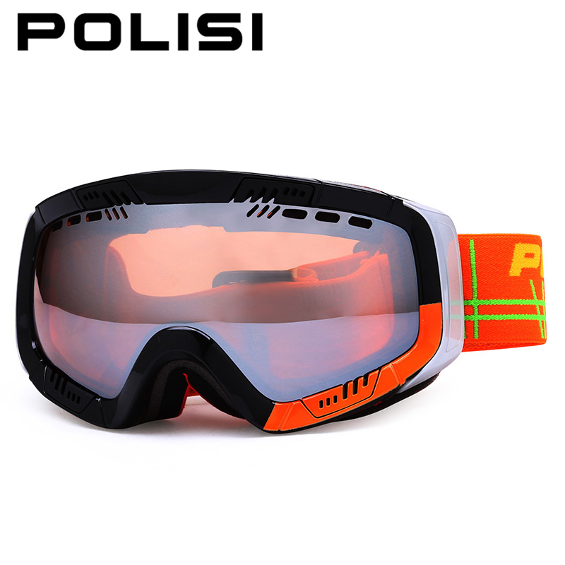 POLISI Men Women Ski Skiing Goggles UV Protection Snowboard Eyewear Double Layer Anti-Fog Yellow Lens Outdoor Snowmobile Glasses polisi professional snow skiing eyewear ski goggles uv protection double layer anti fog lens winter snowboard glasses blue lens