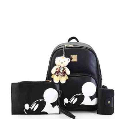 3Pcs Cute Mickey School Bags Pu Leather School Bags Girls Korea Style Mochila Feminina School Bags