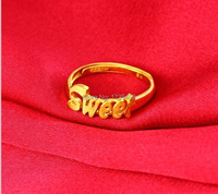BEST Pure 999 24K Yellow Gold / Perfect Sweet Design Ring / 3.2g