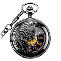 New WOONUN Pocket Watch Fashion Steampunk Gun black Skeleton Mechanical Hand Wind Pocket Watches Men Mechanical Pocket Watches