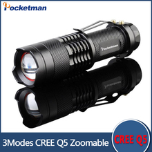Zk58 2017 Mini LED Torch 7W 2000LM CREE Q5 LED Flashlight Adjustable Focus Zoom flash Light Lamp free shipping wholesale