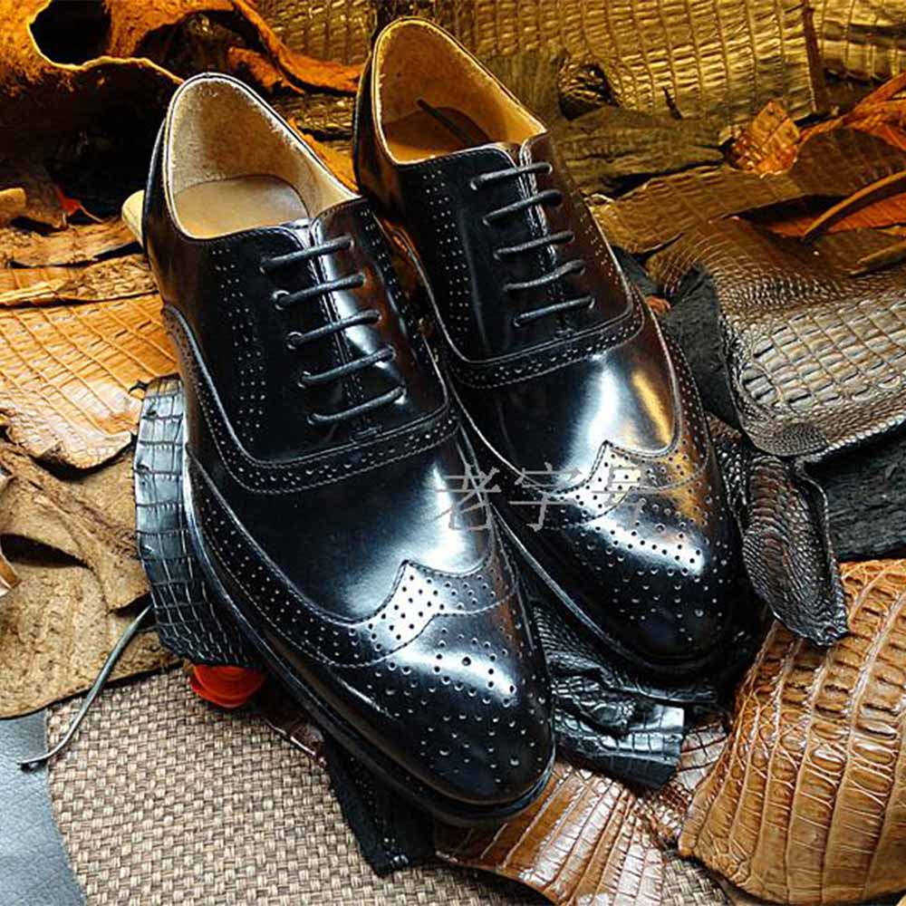 Sipriks Full Carved Brogue Shoes Imported Italian Black Calf Leather Dress Oxfords Bespoke Goodyear Welted Social