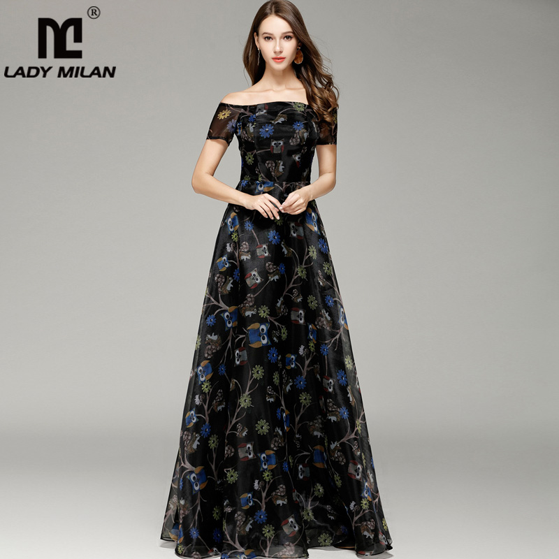 Lady Milan 2019 Womens Sexy Off the Shoulder Short Sleeves Animals Printed A Line Elegant Long Party Prom Dresses