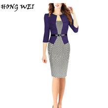 HONGWEI 2017 Ladies Autumn New Workwear Fashion Womens One Piece Elegant Plaid Tartan Belted Knee Length