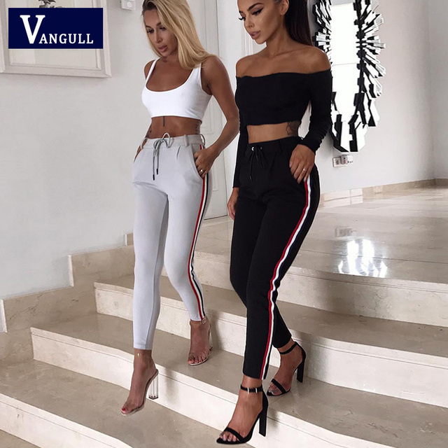 Casual Women Pants Leggings Woman Side Stripe High Mid Waist Pencil Pants 2018 New Drawstring Knitted Solid Elastic Trousers