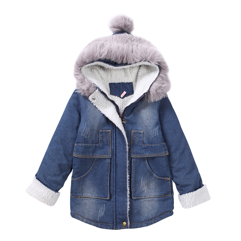 2018 Girls Winter Coat Warm Jacket Fashion Hooeded Jeans Outerwear Children Clothing Kids Cotton-parka coats plus size women cotton clothing 2017new irregular coats jacket thicker casaco feminino fashion top outerwear abrigos mujer 1044