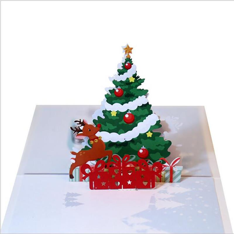 3d Christmas Tree.Us 2 44 18 Off Christmas Greeting Card 3d Christmas Tree Deer Pattern Popup Gift Card Popup Greeting Card In Cards Invitations From Home Garden