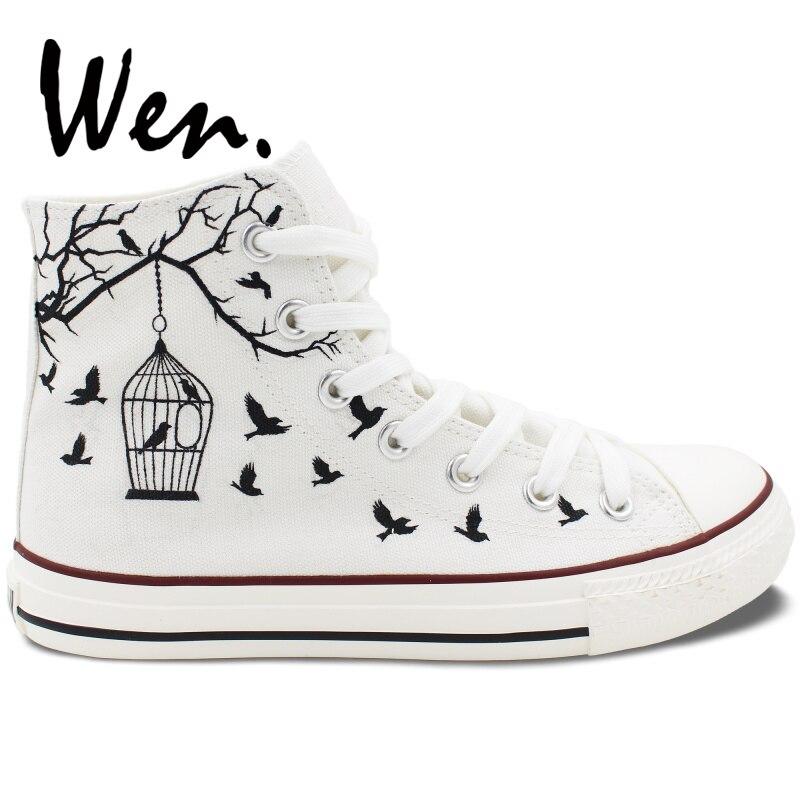 Wen dizajn ručno oslikano bijelo platno cipele ptica kavez muškarci - Tenisice - Foto 2