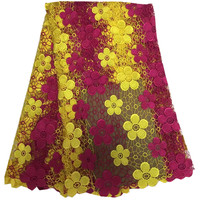African lace fabric 5yard yellow+red african cord lace fabrics latest High Quality african guipure lace fabric for dress HR53-55