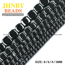 AAA Flat Square Black Hematite beads Natural Stone High quality magnetite Loose 3/4/6/8MM For Jewelry bracelet Making DIY