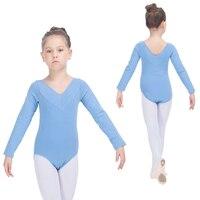Sky Blue Cotton Lycra Leotards Long Sleeves V Front Kids Gymnastics Girls Ballet Bodysuit