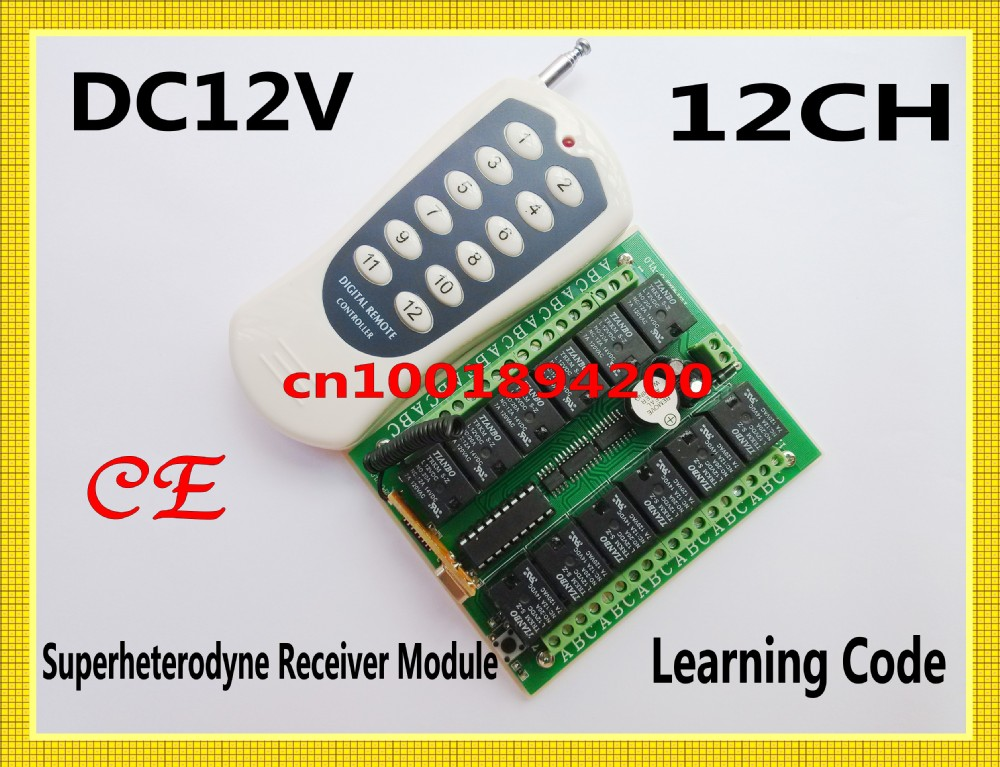 CE DC12V 12CH Remote Control Switch Receiver Transmitter 315/433MHZ Superheterodyne Receiver Learning Code 4 Kind Output Adjust rxb8 433mhz superheterodyne wireless receiver module perfect for arduino avr