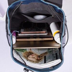 Image 5 - حقيبة ظهر نسائية سوداء اللون غير لامعة موضة 2019 حقيبة ظهر يومية للبنات حقيبة ظهر مضيئة بتصميم هندسي حقيبة ظهر noctiitech حقيبة ظهر