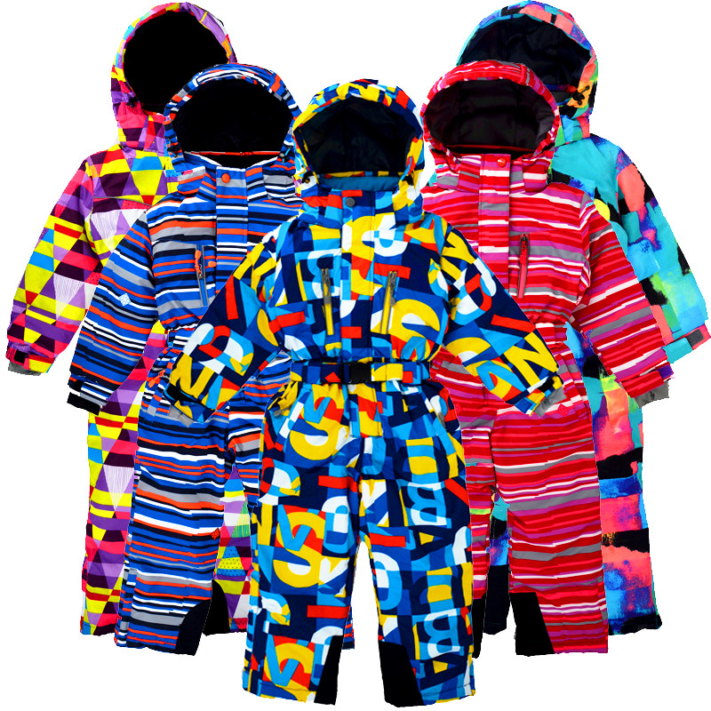 2019 Children's Winter Outdoor One-piece Ski Suit, Wind And Snow, Plus Velvet Thickening, Suitable For 3-10 Years Old.