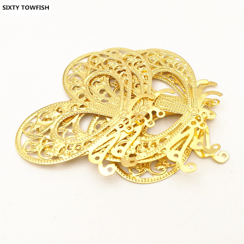 20 pcs/lot 35*45mm Gold color/White K Metal Filigree butterfly Flowers Slice Charms base Setting Jewelry DIY Components Findings