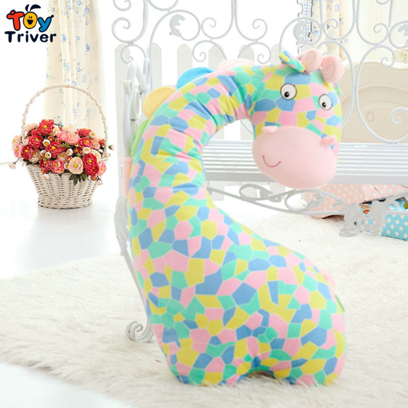 2016 cute plush colorful giraffe toys stuffed doll pillow cushion bolster baby children kids boy girl gift free shipping triver