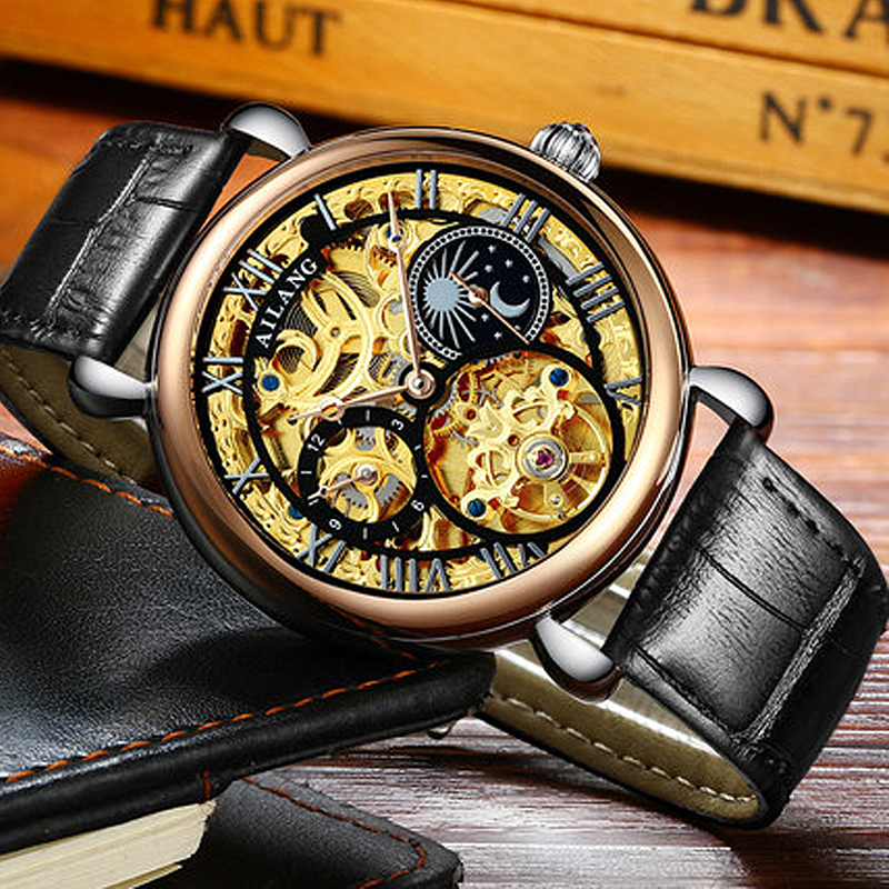 AILANG Casual Skeleton Watch Men 30M Waterproof Luxury Brand Leather Mechanical Watches Relogio masculino Clock Gold Wristwatch famous brand binger watches fashion brown leather strap mechanical casual watch gold date men dress wristwatch 200m waterproof