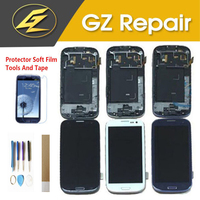 Blue White Black Color For Samsung Galaxy S3 i9300 i535 LCD Display Touch Screen Digitizer Assembly With Frame With Kits