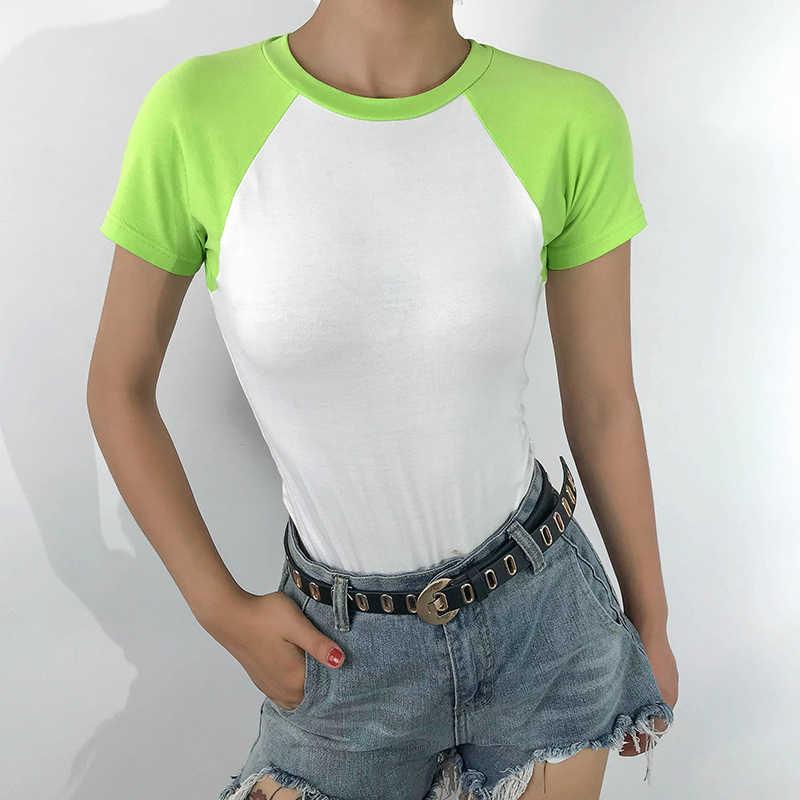 Waatfaak Повседневный короткий рукав белый боди Женская летняя хлопковая Облегающая рубашка боди с открытой спиной Сексуальное Лоскутное зеленое модное боди