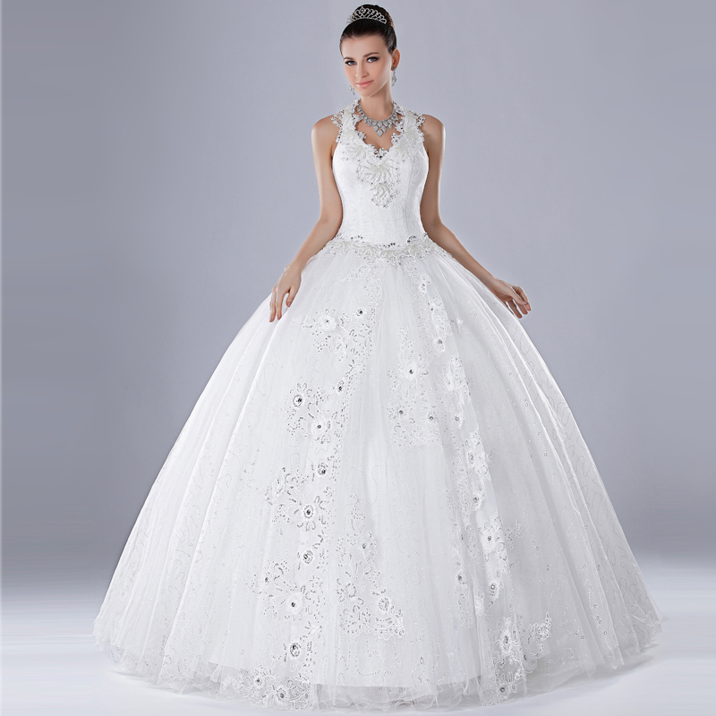 2013 sweet princess halter neck wedding dress diamond lace flower ...
