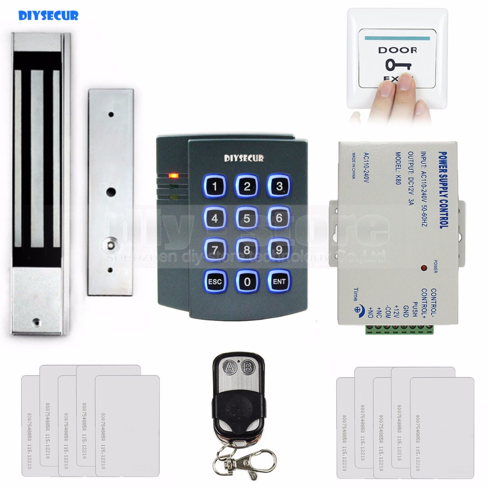 DIYSECUR Complete RFID Access Control System Kit + 280kg Magnetic Door Lock + Remote Control for House / Office Use diysecur remote control rfid keypad door access control security system kit 280kg magnetic lock for home office b100