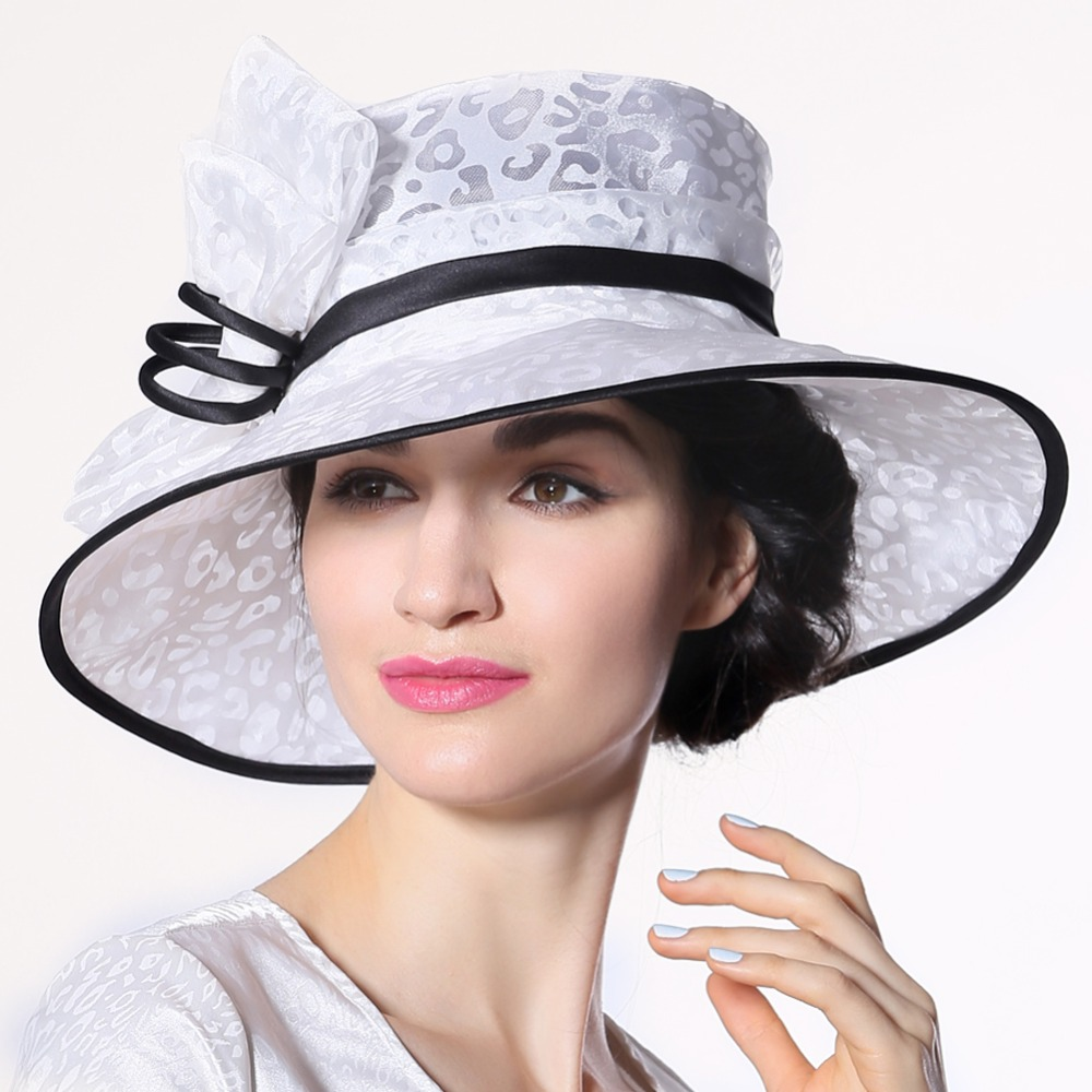 Women Ladies Organza Hat Derby Church Wedding Beach Cocktail Evening Party  Summer Sun Cap Vintage Dress Fedora Wide Brim Hat New-in Sun Hats from  Women's ...