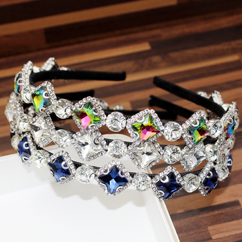 Trendy Bling Hair Jewelry AB Clear Navy Crystal Headbands And Hairbands Rhinestone Hoop Band For Women Girls Hairwear