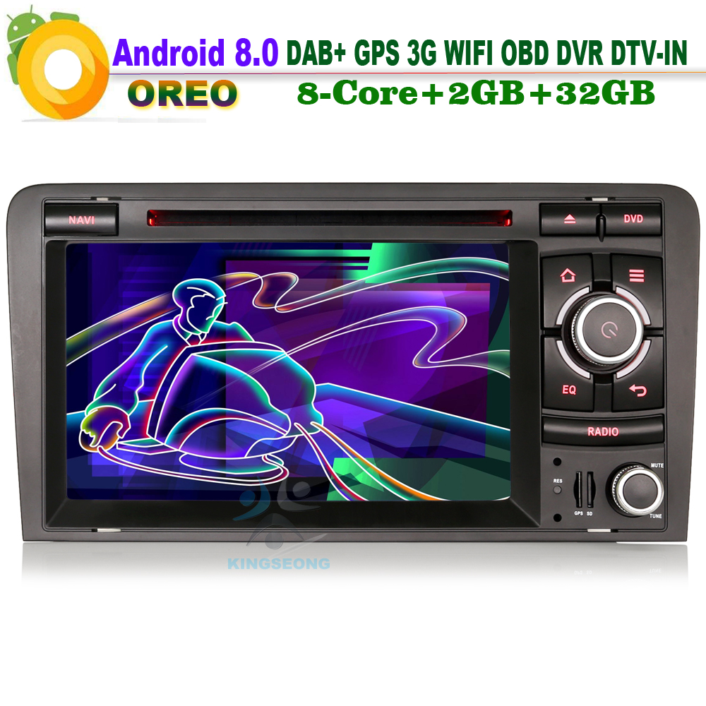 Android 8.0 DAB+ Sat Navi Wifi 3G DVR Bluetooth CD RDS OBD DTV-IN Head Unit BT Radio Car DVD player FOR AUDI A3 S3 RS3 RNSE-PU