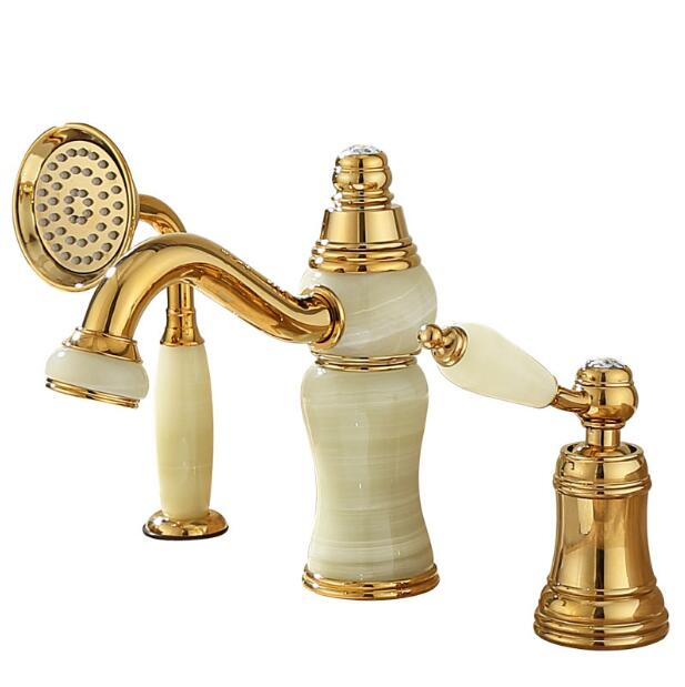 Hot and cold Gold finish Pull out bathroom basin faucet Brass and Jade bathroom sink tap with pull out shower head style contemporary faucet jade and brass copper pull out basin faucet gold sink faucet pull out spray spout hot