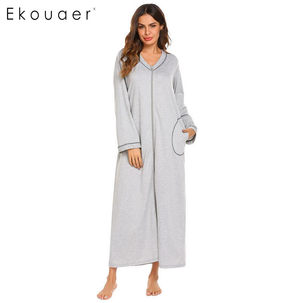 Ekouaer Girls House Robe Zip up Hoodie Nightgown Long Sleeve Sleepwear Dress with Pockets