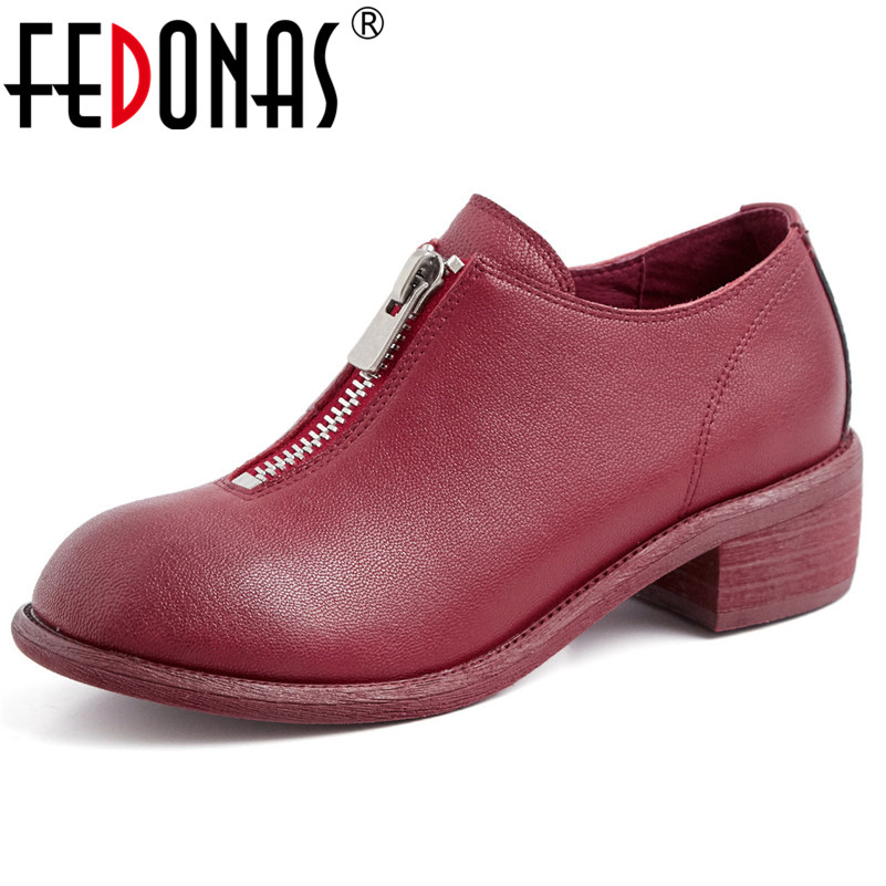 FEDONAS Brand Women Genuine Leather High Heels Pumps Zipper Spring Summer Round Toe Night Club Party