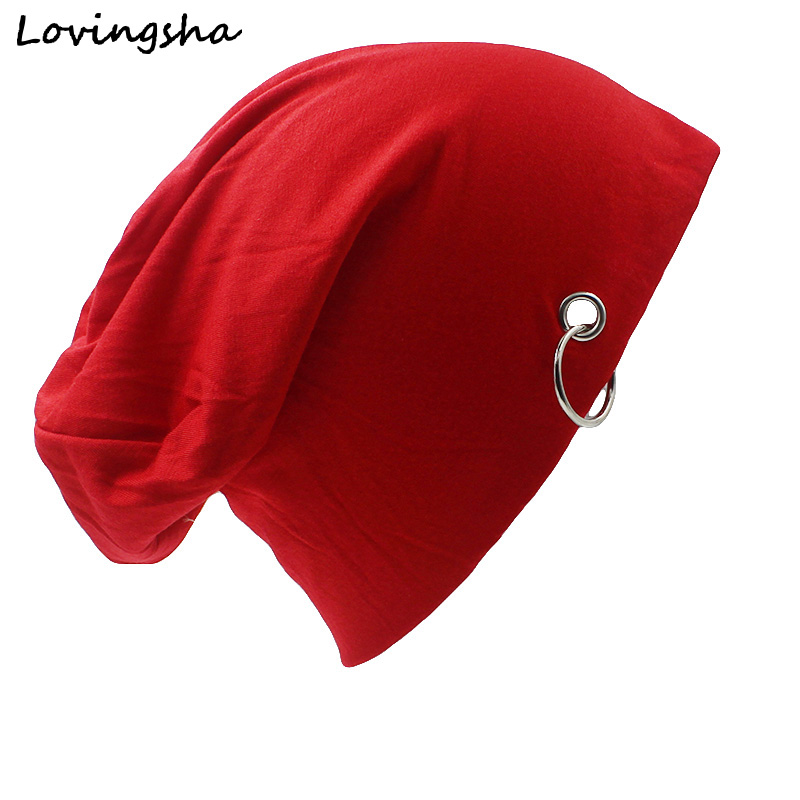 LOVINGSHA Fashion Brand Autumn Winter Hats For Women Solid And Hoop Design Ladies Thin Hat And Beanies Men Hat Unisex HT004