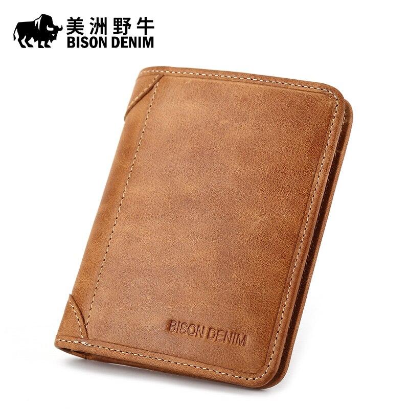 Bison denim de alta calidad de los hombres billetera Cuero auténtico marca  monedero tarjeta de crédito carpeta de los hombres de la vendimia del  zurriago c034c832355